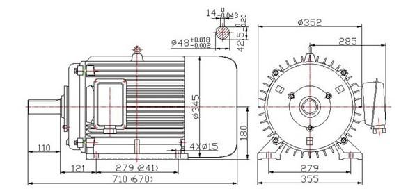 brushless permanent magnet vehicle motor 35kw