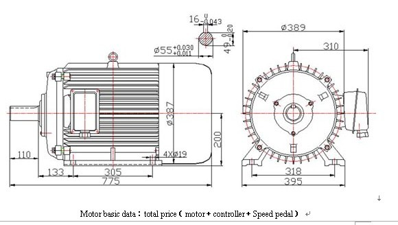Brushless Permanent Magnet Vehicle Motor 50kw 100kw